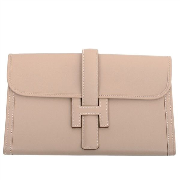 Hermes Argile Beige Swift Jige Elan PM Clutch Bag | MadisonAvenueCouture.com featuring polyvore fashion bags handbags clutches bolsas beige clutches beige handbags hermès hermes purse hermes clutches