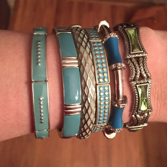 Lia Sophia Stretch bracelets 6 Lia Sophia bracelets.  All are $15 each, except the last one (closest to my hand) which is $20.  Discounts for bundles. Lia Sophia Jewelry Bracelets