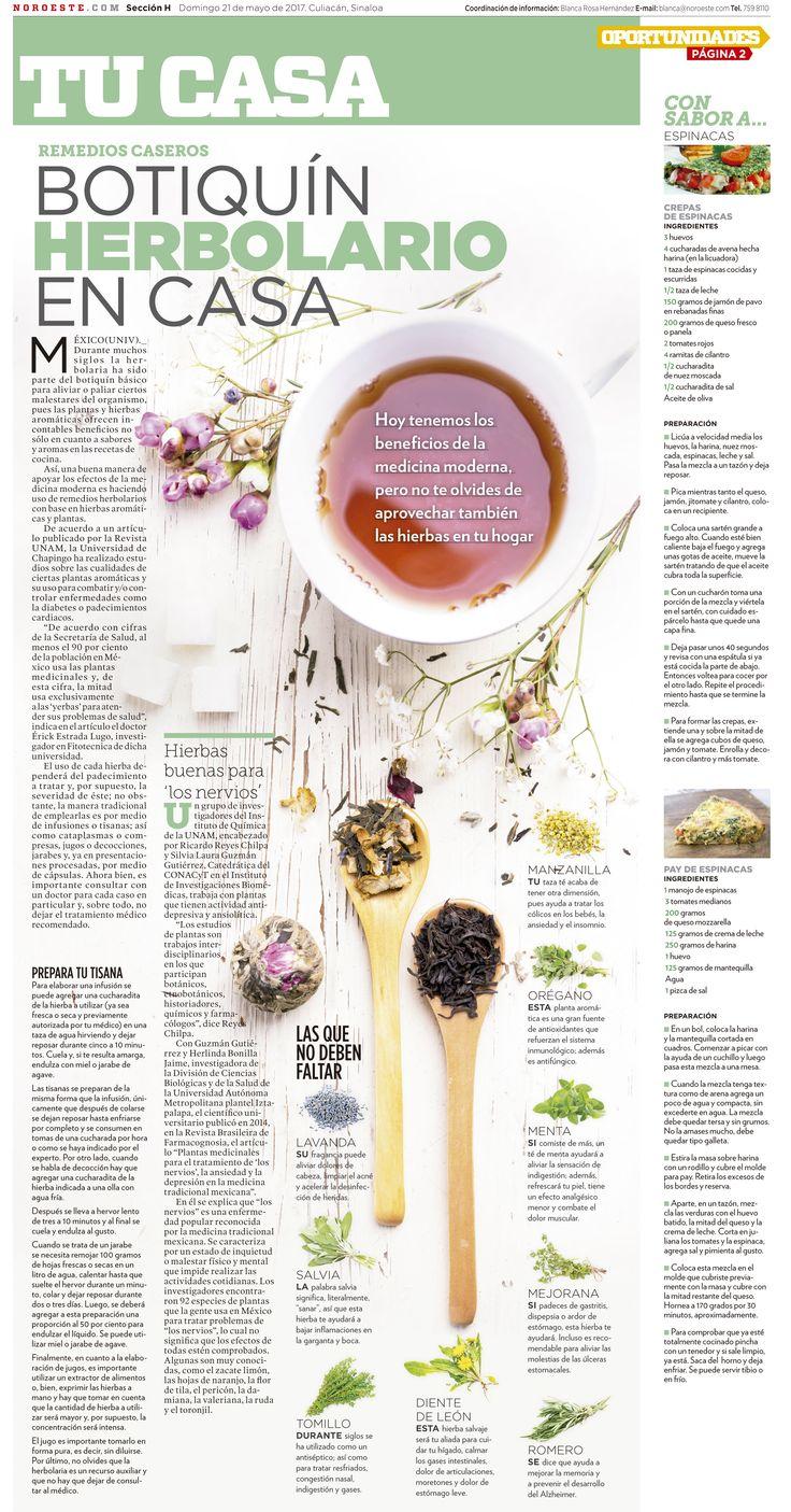 Botiquín Herbolario en Casa Página para el periódico Noroeste de la sección de Tu Casa