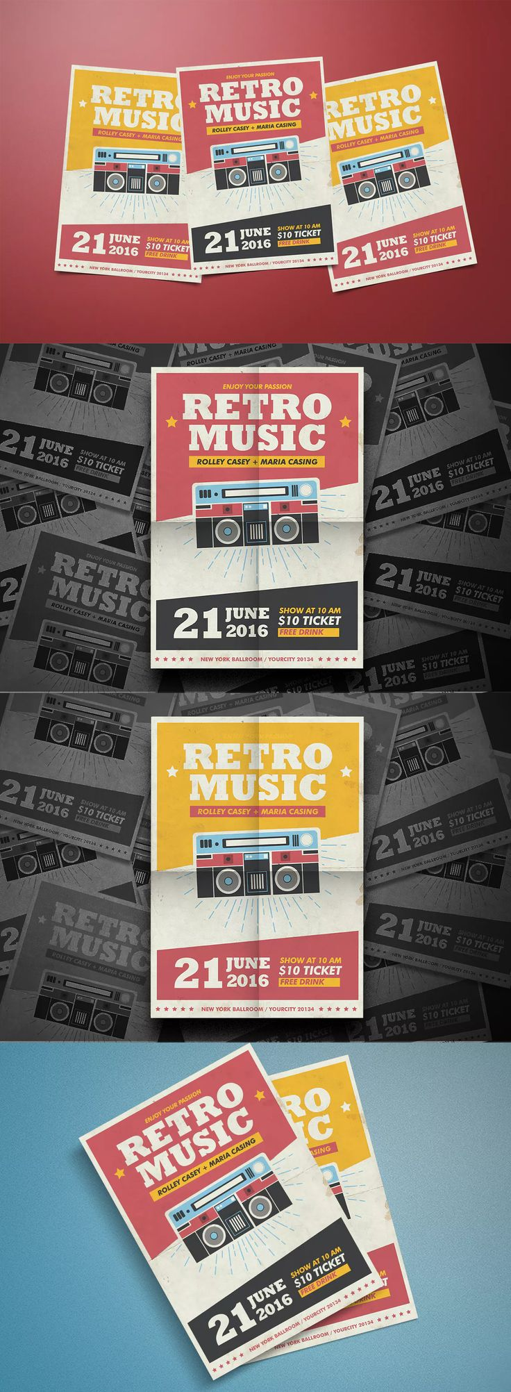 Retro Radio Flyer Template PSD