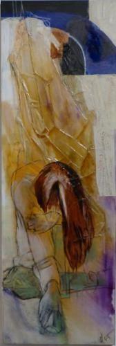 """leave  me alone"", Acrylcollage mit Papier,  Monika Stoffel"