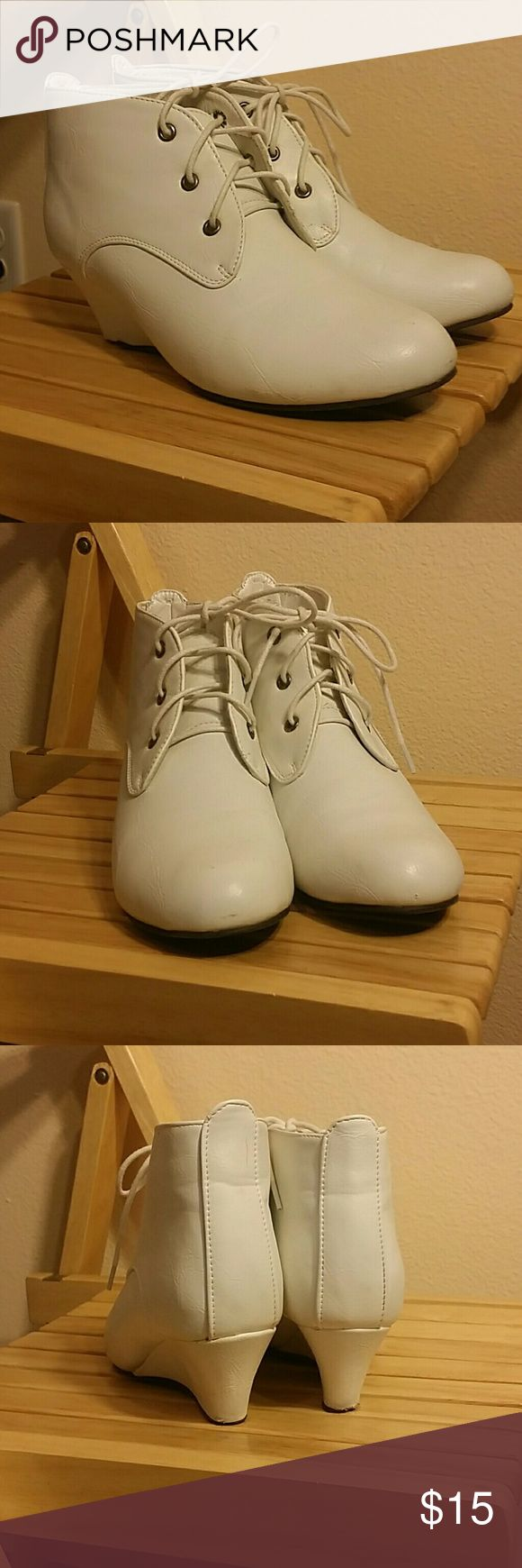 White Oxford Wedge Heels White, light wear on sole, easy to clean, Oxford style West Blvd Shoes Wedges