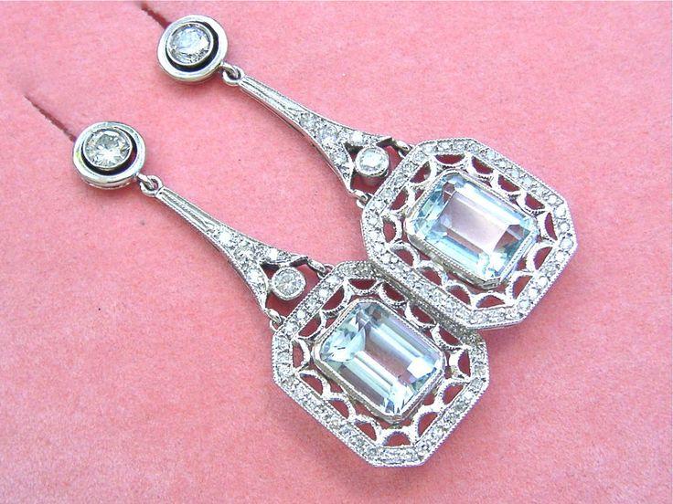ART DECO 1.3ctw DIAMOND 7ctw AQUAMARINE 18K STUD DANGLE LONG COCKTAIL EARRINGS | Jewelry & Watches, Vintage & Antique Jewelry, Fine | eBay!