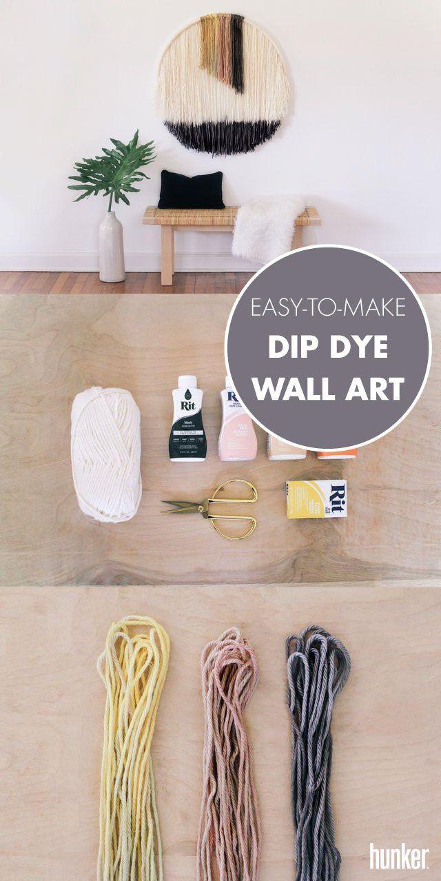 Easy To Make Hanging Wall Art Using Dip Dye Yarn Yarn Wall Art Diy Wall Decor Hanging Wall Art
