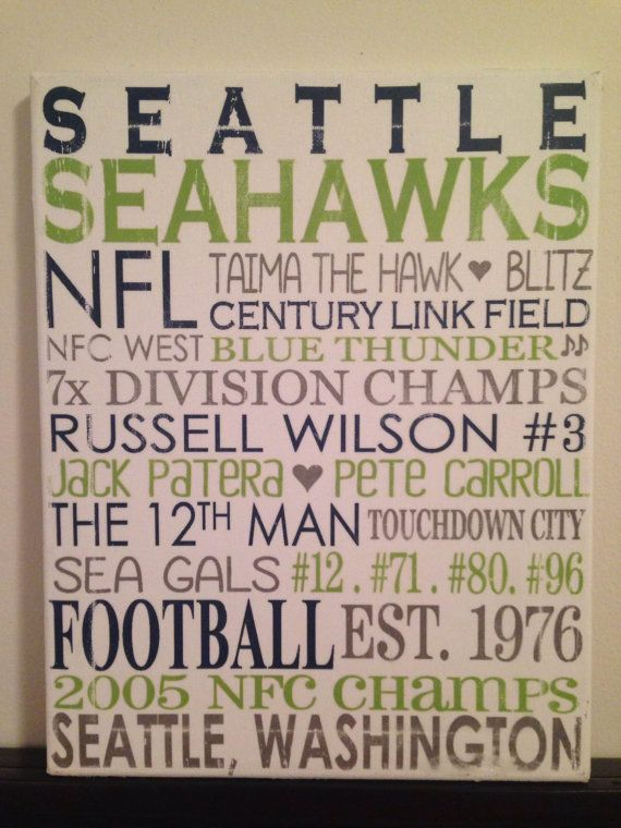 subway art seattle seahawks nfl football rustic looking canvashome decor sign man cave - Seattle Home Decor