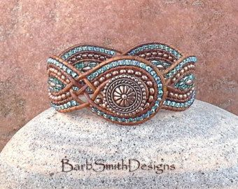 Blue Copper Beaded Leather Cuff Wrap Bracelet - The Twisted Sister (The Petite One in Copper)