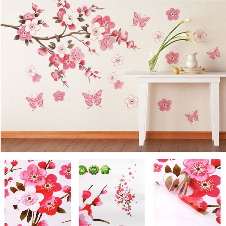 Bathroom Flower Butterfly Wall Stickers Decal Removable Peach Wall Sticker  Wallpaper Quote Poster Decor Para Bedroom Part 79
