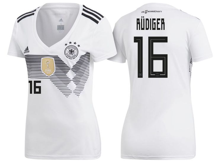 2018 Germany World Cup Football Shirt antonio rudiger Women Home Soccer Jersey