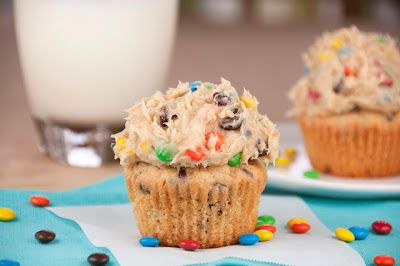 Monster Cookie Dough Cupcakes