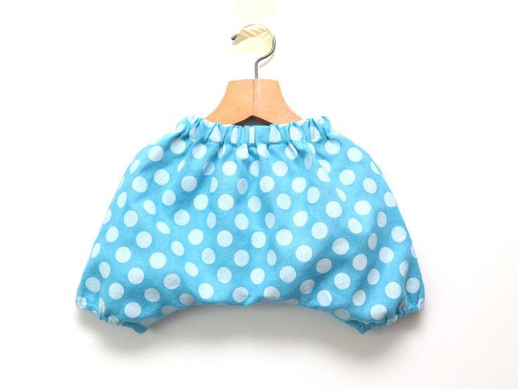 Pumphosen - Himmel blau Leinen Kinder Haremshose mit Tupfen - ein Designerstück von ZanziBach bei DaWanda