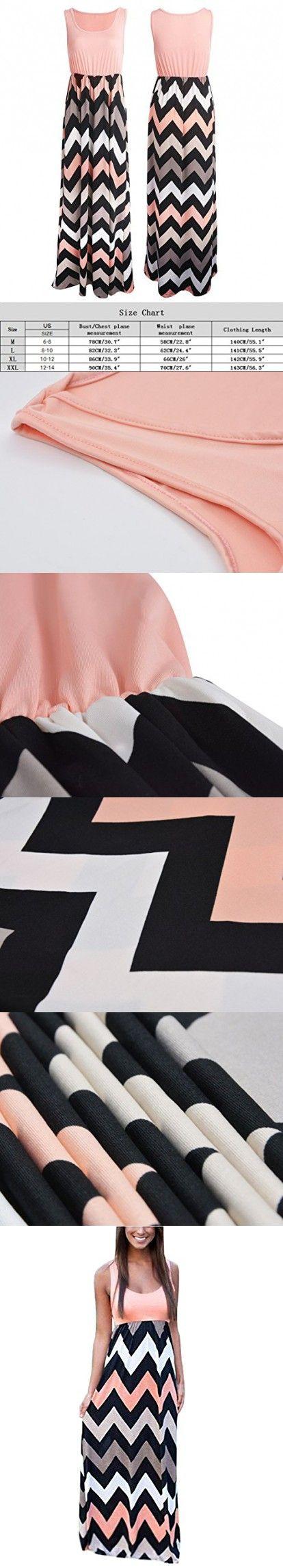 Women Summer Maxi Dress Striped Sleeveless Casual Beach Party Dress Pink XX-Large