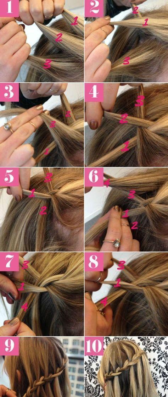 Wie man ein Wasserfall-Geflecht macht: Einfaches Tutorial für geflochtene Frisuren #DIY #Hair ...