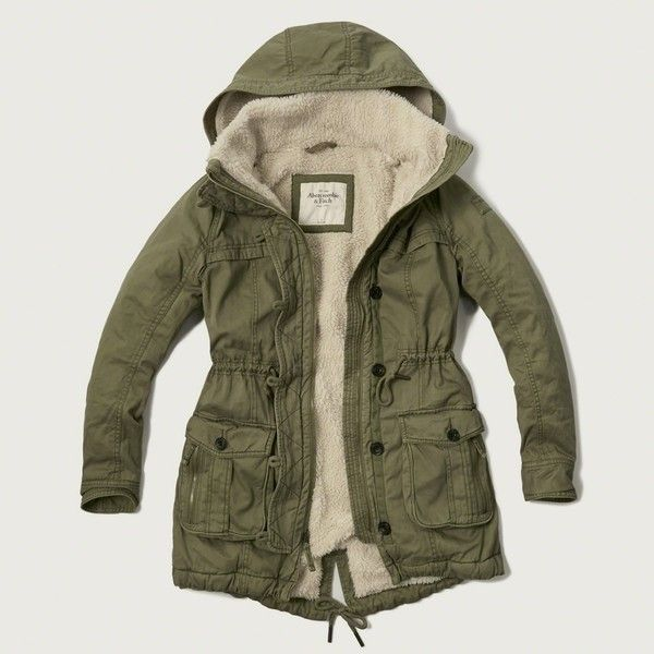 Abercrombie & Fitch Sherpa Lined Twill Parka ($108) ❤ liked on Polyvore featuring outerwear, coats, olive, sherpa lined coat, parka coat, twill parka, faux shearling coat and twill coat