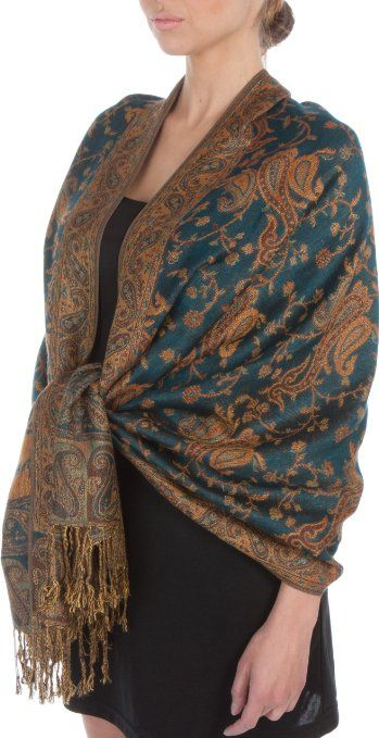 "Amazon.com: 70 x 28"" Double Layer Jacquard Paisley Pashmina Shawl / Wrap / Stole - Gray / Copper Brown"": Clothing"