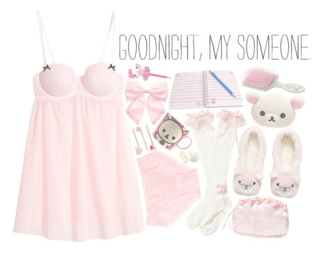 """""""~ goodnight, my someone ~"""" by miyu-san ❤ liked on Polyvore featuring H&M, Pumpkin Patch, Miss Selfridge, Hello Kitty, cute, Pink and kawaii"""
