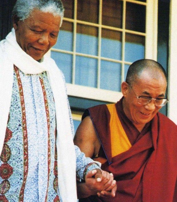 Mandela and Dalai Lama hand in hand, so sweet
