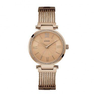 W0638L4 Γυναικείο ρολόι GUESS με μπρονζέ καντράν, κρύσταλλα στη στεφάνη και ροζ χρυσό μπρασελέ σαν σύρμα | Ρολόγια GUESS Τσαλδάρης στο Χαλάνδρι #Guess #ροζ #μπρασελε #γυναικειο #ρολοι