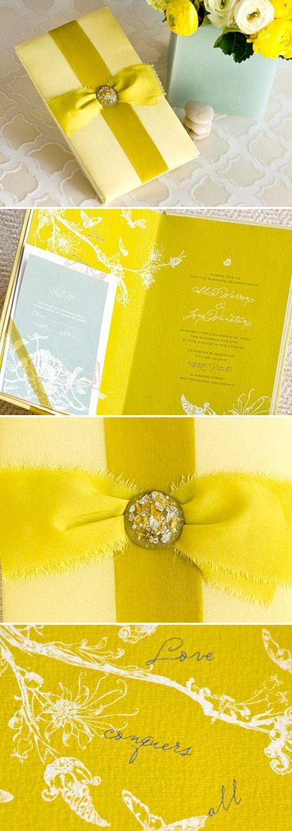 Feminine and whimsical chartreuse wedding invitations from Flite...