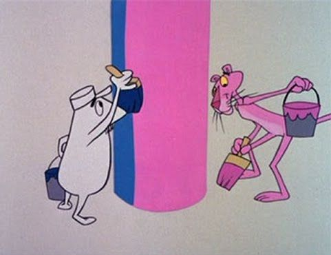 Still from the Pink Panther cartoon 'The Pink Phink' (1964) featuring the little guy and the pink panther painting a column