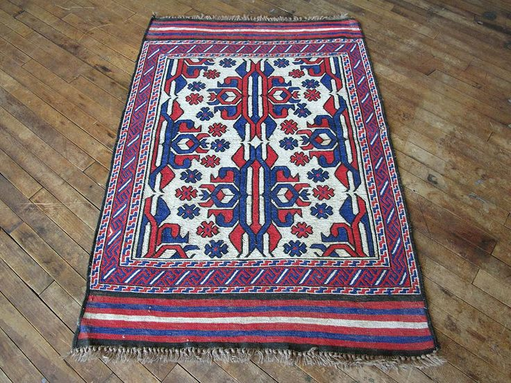 """This is London. Vintage Persian Kilim rug perfect for bathroom rug, kitchen rug, or layering piece. - 3'0""""X4'8"""" - Light grey, red, blue rug - Hand Knotted Rug, Vintage Kilim - Easy Returns. No questio"""