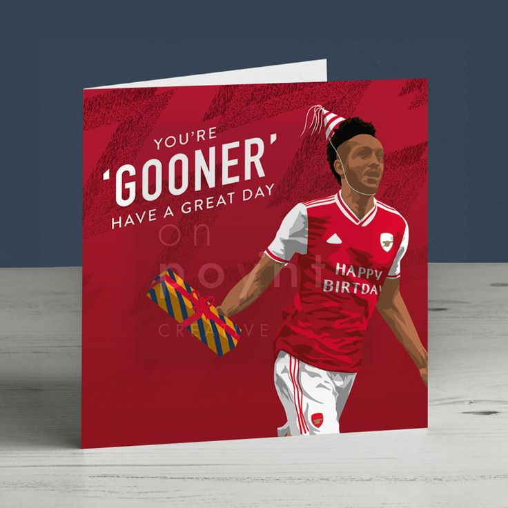 Arsenal Pierre Emerick Aubameyang Square Birthday Card Happy Birthday Birthday Cards Happy Birthday Messages Cards