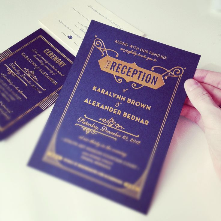 Hello Tenfold Gatsby Wedding Invitations in Gold Foil on Navy Paper http://www.hellotenfold.com/product/eleanor-wedding-invitations