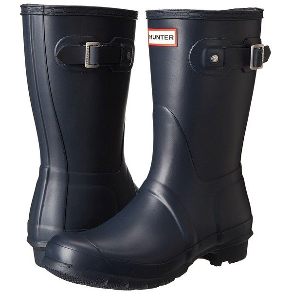 Hunter Original Short Women's Rain Boots ($140) ❤ liked on Polyvore featuring shoes, boots, hunter original short navy 1, platform ankle boots, platform boots, navy blue boots, wellington boots and wellies boots