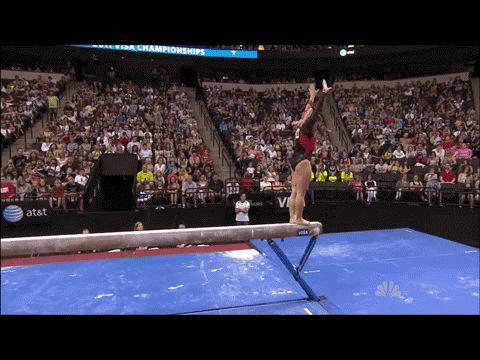 Shawn Johnson gif. 2011 Visa Championships Day 2 Beam first pass back handspring, back handspring, layout #gymnastics #comeback