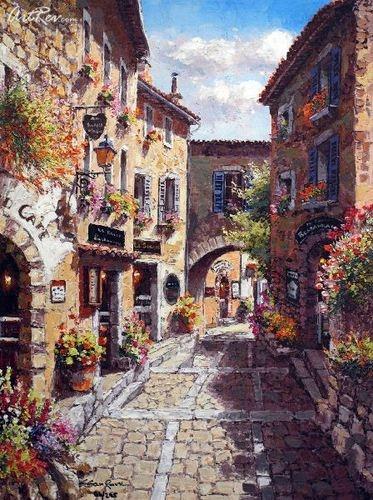 Sung Sam Park, Eze Village, Hand Embellished Giclee on Canvas - Retail $800