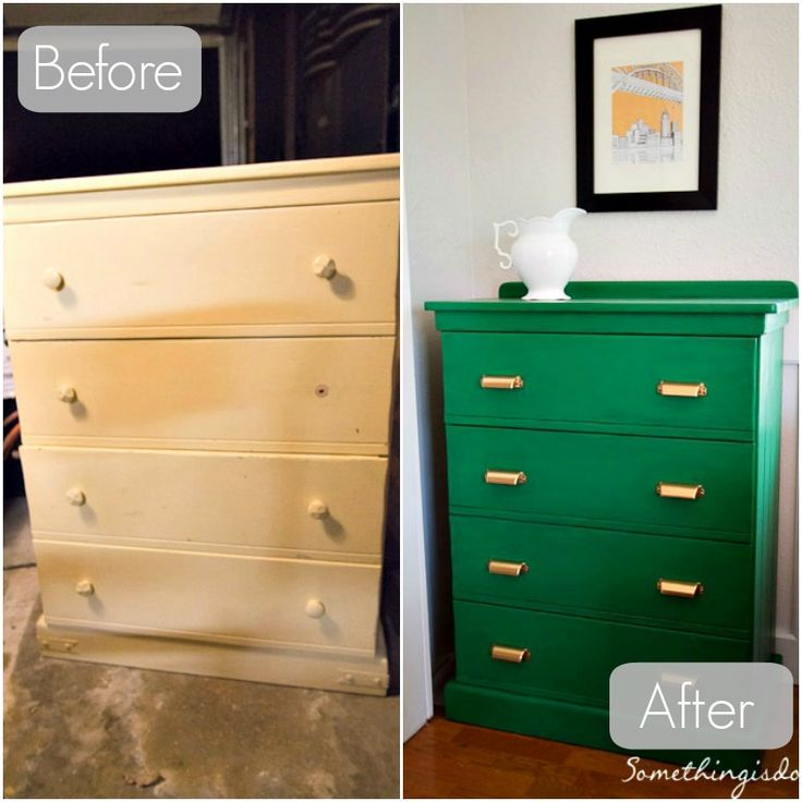 dresser before and after - love the kelly green colour!