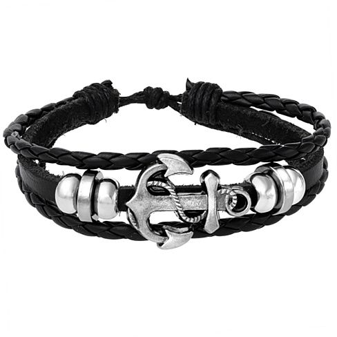 Tribal Leather Wristband Vintage Anchor Charm Surf Black Unisex Adjustable Bracelet.