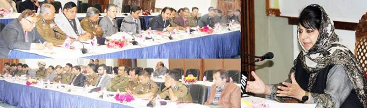 Chief Minister Mehbooba Mufti chairing a meeting of civil and police administration at Srinagar.