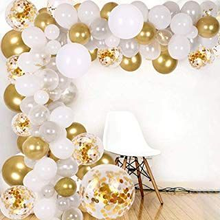 DIY Balloon Bow & Garland kit 138Pcs Party Balloons Decoration Set Gold Confetti & Silver & White & Transparent Balloons for Baby Shower Wedding Party