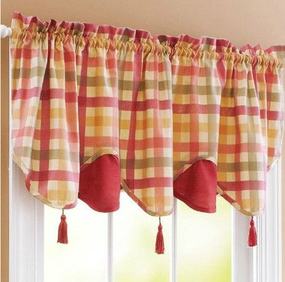 Details About Red Green Yellow Tan Country Plaid Kitchen Curtains Valance Or Tiers Set