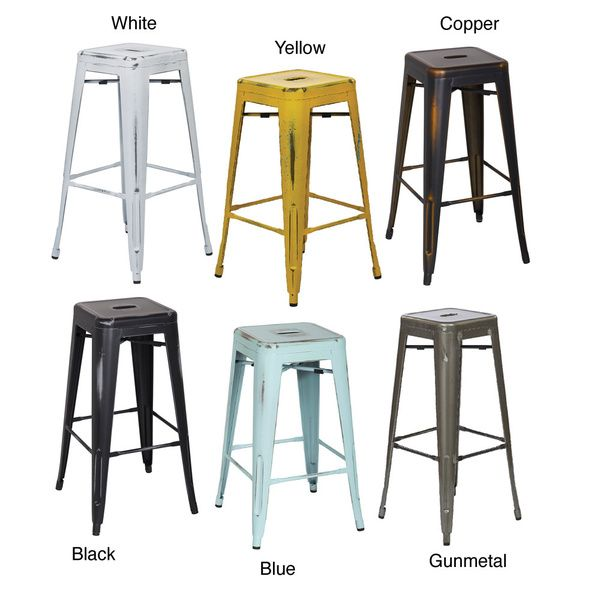 Vintage 30-inch Antique Finish Modern-style Sheet Metal Cafe and Bistro Bar Stools (Set of 2)
