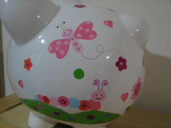 Personalized Jumbo piggy Bank Butterfly by KUTEKUSTOMKREATIONS, $59.99