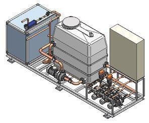 Kälteanlage mit Hydraulikmodul mit offenem Tankbehälter und Abgängen für 3 separate Verbraucherkreise. Intergrierte Temperatur-Regelung für eine Anlage zur Prozesskühlung