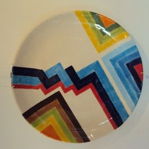 Ceramic plate by Thamir Al-khafaji. 40cm diameter. Shop online www.artiquea.co.uk #ceramic #painted #design #Iraqi #artist.