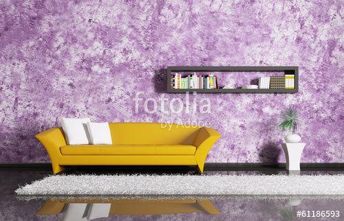 """Pobierz zdjęcie royalty free  """"Interior with sofa and bookshelf"""" autorstwa…"""