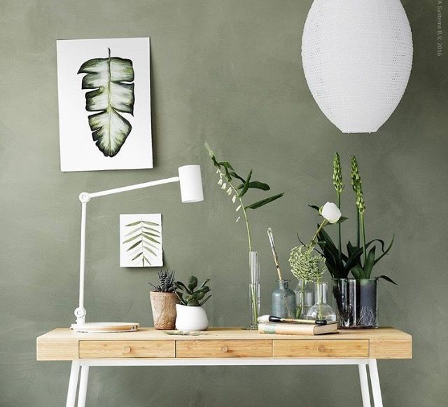 This wall color.  Urban jungle desk in Scandinavian style