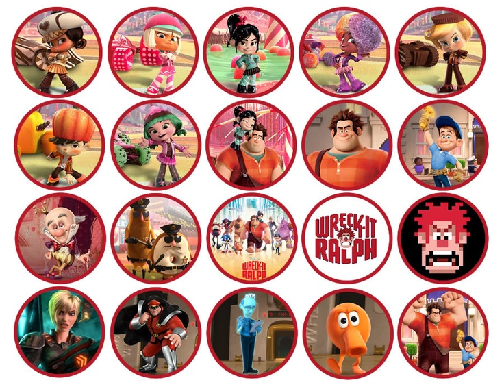 INSTANT DOWNLOAD Wreck It Ralph Cupcake Toppers - Wreck It Ralph Birthday Party Circles - Wreck It Ralph Party Favors. $4.00, via Etsy.