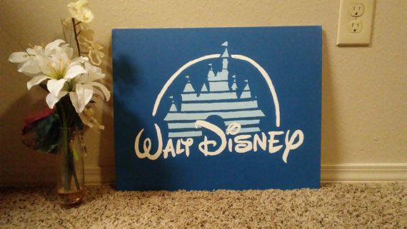 Walt Disney Pictures Castle Logo From The 90's 16x20 Hand Painted Acrylic Painting on Hard Canvas Panel #cartoon #acrylic #acrylicpaint #canvaspanel #canvas