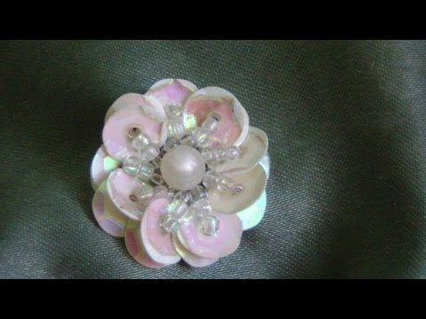 Flor con lentejuelas...proyecto 146 - YouTube