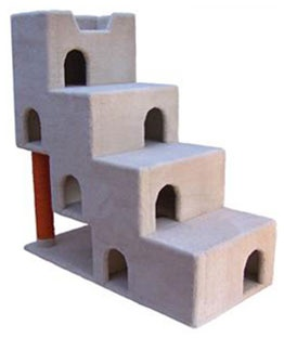 """Staircase Cat Condo Furniture  At 55"""" in height, this hollow cat condo furniture features 4 interior levels, a total of 7 entryways, and a spacious cat bed at its top. Each entryway is approximately 6 inches wide and 9 inches tall. The interior spaces are about 11 inches tall, and the height of each step is about 12 inches. This spaceous condo is excellent for up to 10 cats.  - Dimensions 55""""Hx53""""Wx25""""D  - Weight 143lbs  - Material Plywood, Solid Pine (Posts), 100% Nylon Carpet"""