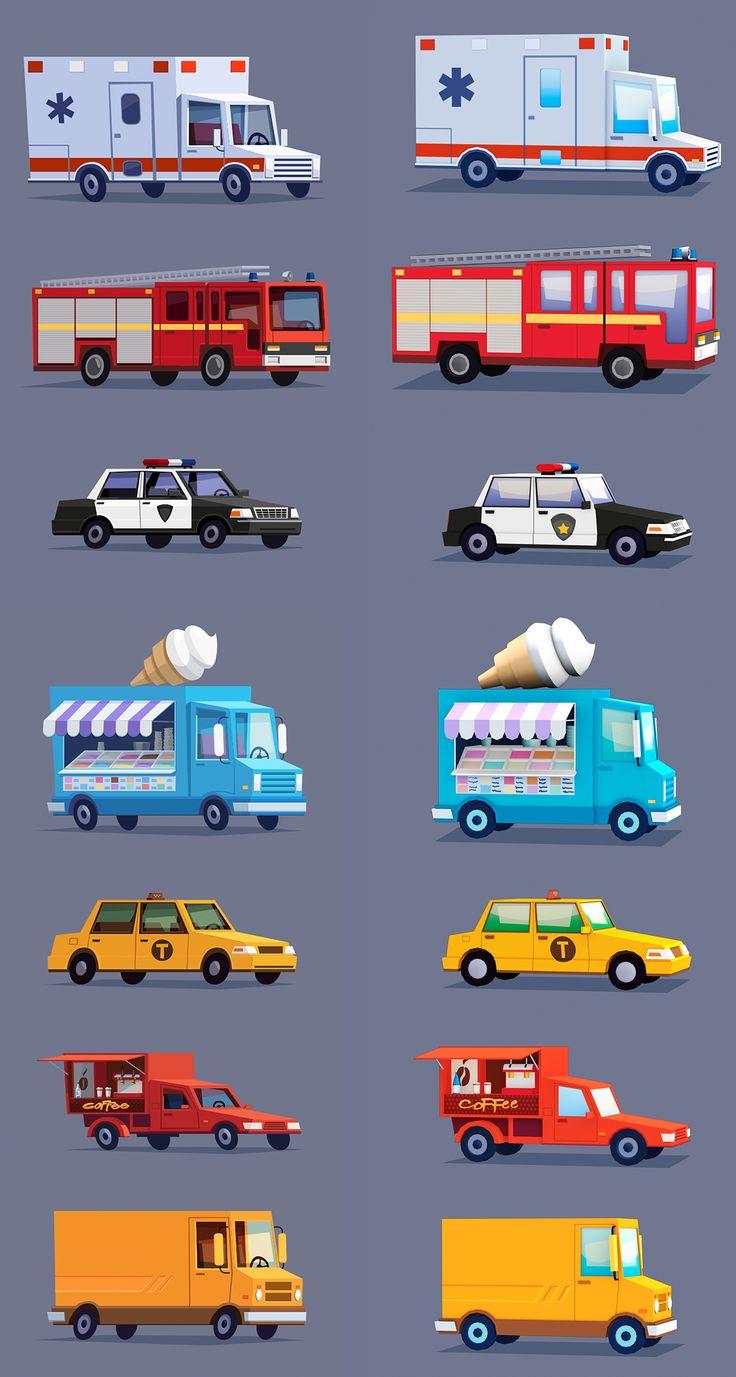 Cartoon stylized cars on Behance
