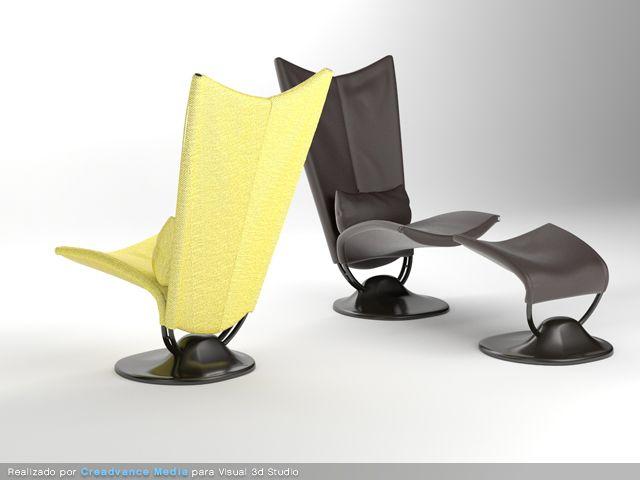 sillas mobiliario 3d