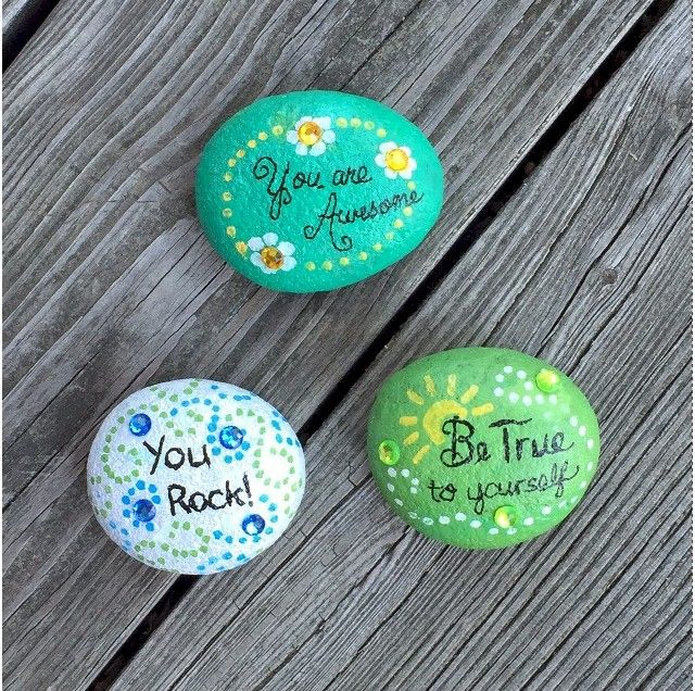 Kids can make Inspirational Stones for themselves or for someone who may need a little boost in confidence. It's a fun and inexpensive project. Could also put magnet on back to make fridge or message board magnet.