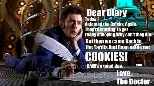 Bahahaha, I can't stop laughing at this. Mollie Parks, I hope you see this, because I pinned it for you. Pretend I'm reading it to you in my David Tennant voice.: Cookies, Rose, Timey Wimey, The Doctor, Diaries, Doctors, Dear Diary