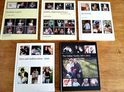This family has photobooks from digital pictures and film prints that have been scanned in. Great idea!