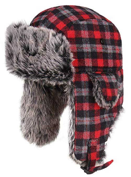 c3bf17d6a8bfb SportsWell Men   Women Winter Warm Plaid Aviator Trapper Hat Faux Fur  Earflaps Ushanka Hunting Caps Color B